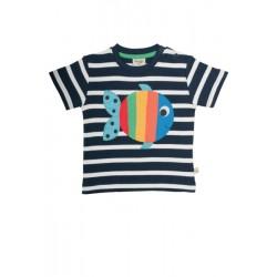 Top - Frugi Little Fal Applique T-shirt - fish 0-3, 3-6 - sale