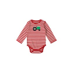 Body - Frugi Baby - red stripe /Tractor 0-3m - 1 left in sale last one