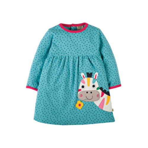 Dress - Frugi Dolcie Dress - Aqua Dot/Zebra 0-3, 6-12, 2-3, 3-4 - sale 30%off
