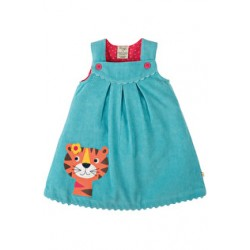 Dress - Frugi Lily Cord Dress - Aqua/Tiger - 3-6, 6-12m - sale