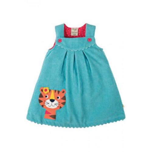 Dress - Frugi Lily Cord Dress - Aqua/Tiger - 3-6, 6-12m - sale