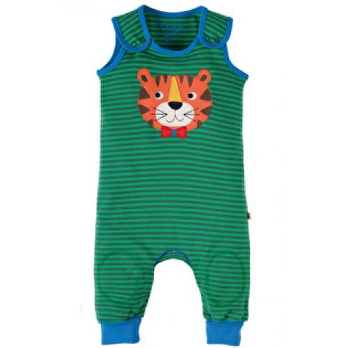 Dungarees - Frugi Kneepatch - Green Stripe/Tiger - 6-12,m- sale