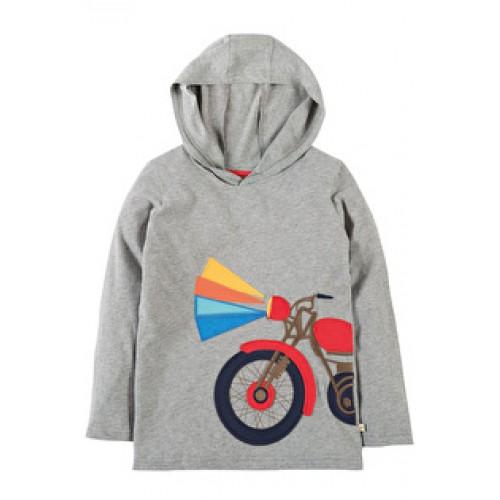 Hoody - Frugi Campfire Hooded Top - Grey Marl/Motorbike