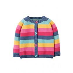 Cardi - Frugi Happy Day Cardigan - Pink Rainbow Stripe aw17 - 2-3 - sale