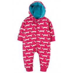 Snuggle suit - Frugi - Raspberry Beret Dogs - 0-3, 3-6m - sale