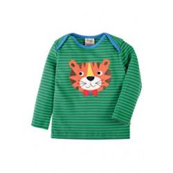 Top - Frugi Bobby  - Green Stripe/Tiger 0-3, 3-6m - sale