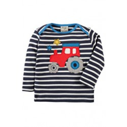 Top - Frugi Bobby Applique Top -  Navy Breton/Tractor- 3-6m  last one  in sale