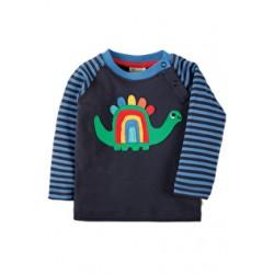 Top - Frugi - Henry Raglan - Blue Stripe/Dino - 0-3,  12-18m - sale