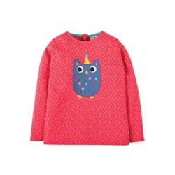 Top - FRUGI Erin - Raspberry Dot/Owl - 8-9y - Sale last one