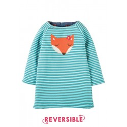 Dress - Frugi Peek A Boo - Reversible  Dress - Aqua Fox -  12-18m, 18-24m-  sale
