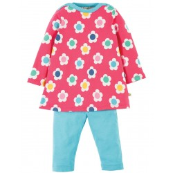 Set - Frugi Tunic and Leggings Set - Raspberry Daisy Disco - 3-6m , 12-18m (2x), 18-24m