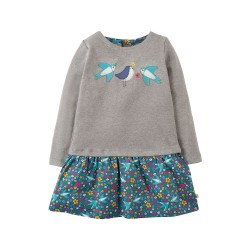 Dress - Frugi - Aurora Grey Swallows -  9-10 - sale