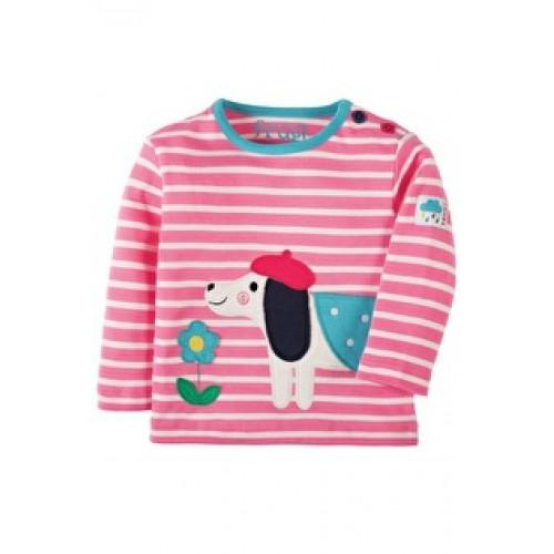 Top - Frugi Button - Petal Pink Breton/Dog - 3-6m last one in sale