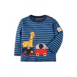 Top - Frugi Boys Button Applique Top - Blue Stripe/Giraffe - 18-24, 2-3y - sale