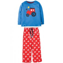 PJ - Frugi - Little Snooze PJs  - Sail Blue/Chug Chug (red tractor) - 12-18 (2x)  3-4y (2x)
