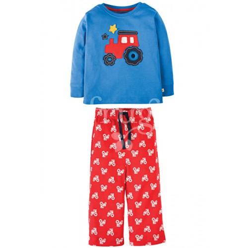 PJ - Frugi - Little Snooze PJs  - Sail Blue/Chug Chug (red tractor) - 12-18 (2x)  3-4y (2x)