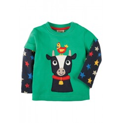 Top - Frugi - Little Look Out - Eden Green/Cow-  0-3, 3-6m  - sale