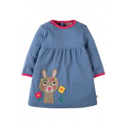 Dress - Frugi Dolcie Dress - Blue Lake Dot/Bunny - 0-3, 6-12, 12-18, 2-3y, 3-4y - sale 30% off