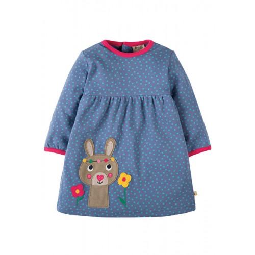 Dress - Frugi Dolcie Dress - Blue Lake Dot/Bunny - 0-3, 6-12, 12-18, 2-3y, 3-4y - sale 30% off