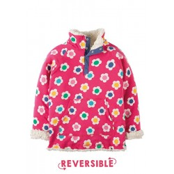 Fleece - Frugi  - Reversible Raspberry Daisy Disco - 4-5 to 7-8y
