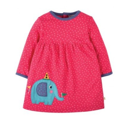 Dress - Frugi - Dolcie - Elephant - 0-3, 3-6, 12-18, 18-24, 2-3y  - SPECIAL -  independent shops exclusive - not available on Frugi main site ) - sale