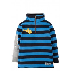 Jumper - Frugi Super Half Zip Jumper - Sail Blue Bold Stripe/Shark - 5-6 - sale