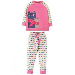 PJ - Frugi  - Lizzie Petal pink cats -4-5 (2x) ,  5-6, - sale