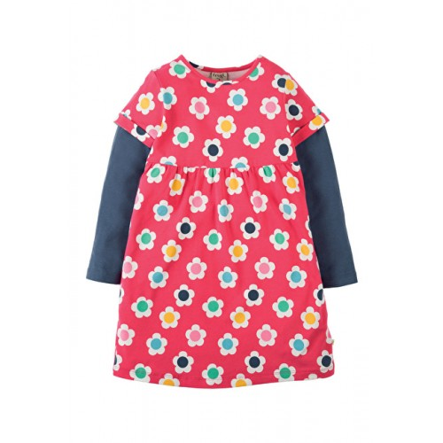 Dress - Frugi - Busy Lizzie Dress - Raspberry Daisy Disco - 3-4, 4-5, 6-7y - sale