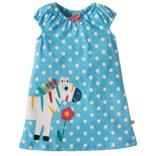 Dress - Frugi Little Lola Dress - Sky Polka/Zebra - 0-3, 3-6, 6-12, - sale