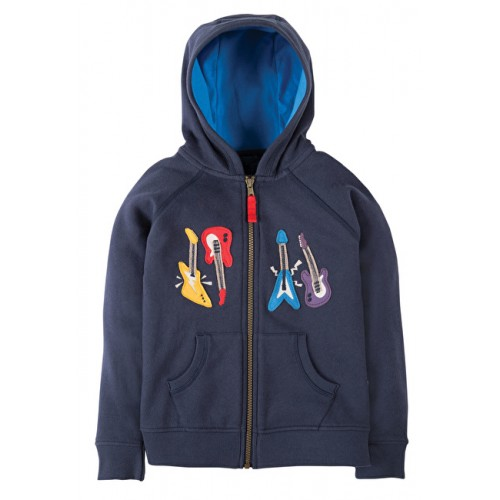 Hoody - Frugi Lucas Zip Up Hoody - Navy/Guitars - 5-6y   sale