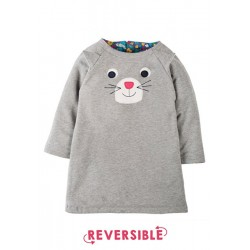 Dress - Frugi Peek A Boo Dress - Reversible Grey Marl/Cat  - 12-18m - sale