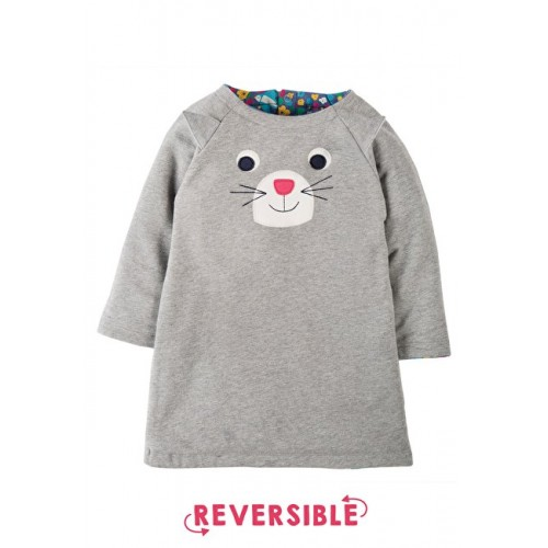 Dress - Frugi Peek A Boo Dress - Reversible Grey Marl/Cat  - 12-18m - sale