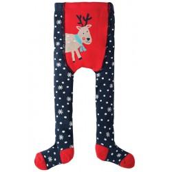 Tights - Frugi - Crawl Away Tights - Snowflake Reindeer -  6-12m sale - last one