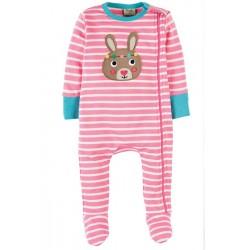 Babygrow - Frugi - Zipped - Petal Pink Breton/Bunny 3-6 - Sale