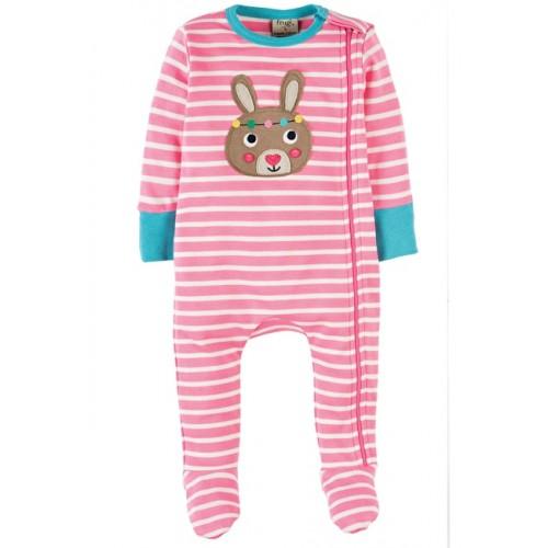 Babygrow - Frugi - Zipped - Petal Pink Breton bunny 3-6 m last one in Sale