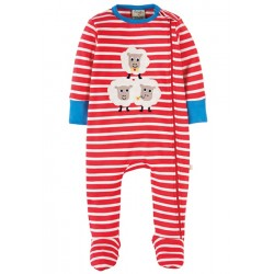 Babygrow - Frugi - Zipped - Tomato Breton/Sheep 0-3, 3-6