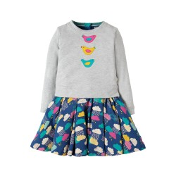 Dress - Frugi - Nina  - Grey Marl Bird -  7-8, 8-9, 9-10 - sale (lovely but small sizing)