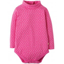 Body - Frugi - Poppy Roll Neck Body - Flamingo Speckle Spot - 6-12 , 12-18, 18-24m - sale
