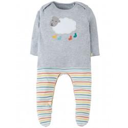 Babygrow - Frugi - AW18 - drop 1 - Arlo Outfit Babygrow -  Grey Marl/Sheep- Tiny Baby, 0-3m, 3-6m