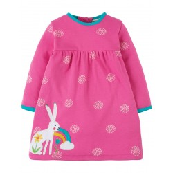 Dress - Frugi - Dolcie Dress - Pink Flamingo Snowball Hare - independents shops exclusives - 0-3, 6-12, 12-18, 18-24m and 2-3, 3-4 - sale