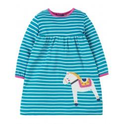 Dress - Frugi - AW18 - Dolcie Dress -Seaglass Breton/Dala Horse  - 0-3, 3-6, 6-12, 12-18, 18-24m and 2-3y, 3-4y