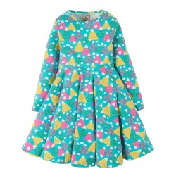 Dress - Frugi - Sofia Skater - Seaglass Happy Hikers - 2-3, 4-5, 5-6, 6-7, 7-8,  - sale