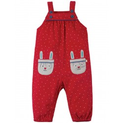 New in - Frugi - AW18 - drop 4 - Maple Cord Dungaree - Mars Red Snowy Spot Rabbit 12-18, 18-24, 2-3y