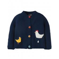 Cardi - Frugi - AW18 - Cuddly Knitted Cardigan - True Blue Chickens - 12-18, 18-24, 2-3, 3-4,