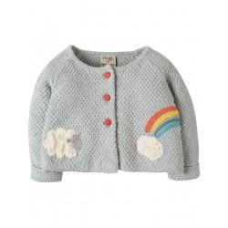 Cardi - Frugi - Cute As A Button - Lamb - 0-3, 3-6m - sale