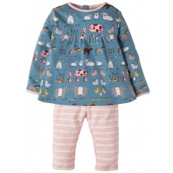 Set - Frugi - AW18 - Sally Dress Set -  Stone Blue Hay Days - 0-3m - last one