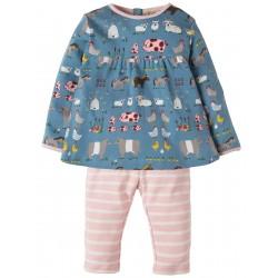Set - Frugi - AW18 - Sally Dress Set -  Stone Blue Hay Days -12-18m - last one in  sale