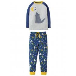PJ - Frugi - Pyjamas  Jamie Jim Jams - Moonlit Night Wolf  - 2-3  - last 2 in sale