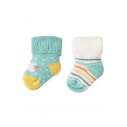 Socks - Frugi -  Comfy Rib Socks 2 Pack - Little Lamb - 0-6, 6-12m - sale