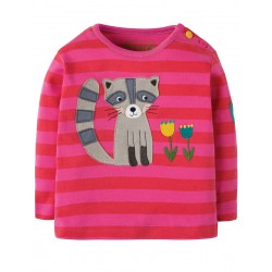 Top - Frugi - AW18 - Button Applique Top - Raccoon -  3-6, 6-12, 12-18